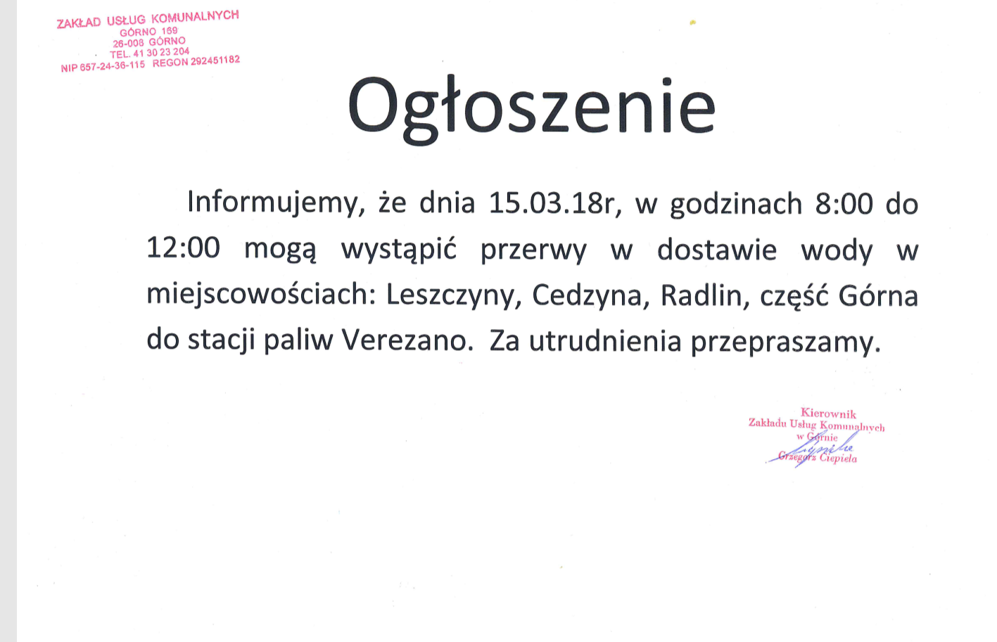 Ogłoszenie – przerwa w dostawie wody dnia 15.03.18r w miejscowościach: Leszczyny, Cedzyna, Radlin, część Górna.